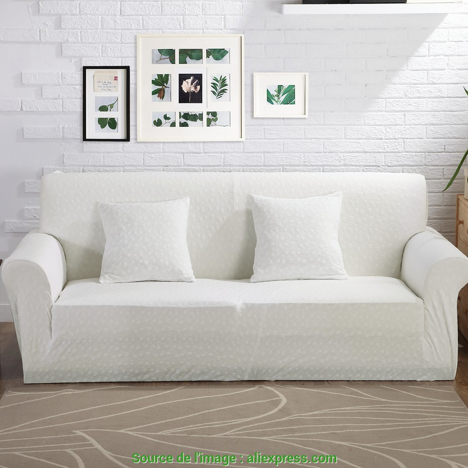Antico 100% Polyester Knitted Fabric White Stretch Sofa Cover, Living Room,Solid Color Jacquard