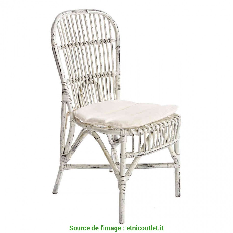 Nuovo Sedia Rattan Bianco Shabby Chic, Mobil Shabby Chic Etnico Outlet