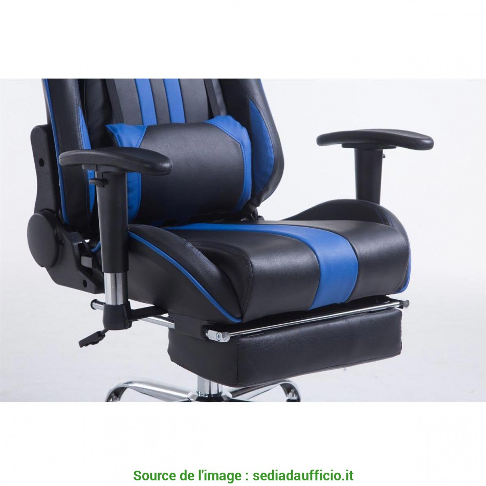 Premio Poltrona Gaming LOGAN, Poggiapiedi, Reclinabile,, Cuscini, In Pelle Nero/Blu
