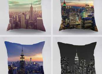 Dettaglio New York City View Alba Modello In Cotone Cuscino, Auto A Casa Divano Empire State Building Design Dark Night Pillw Caso In, York City View Alba