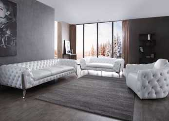 Elegante Divani Casa Catania Transitional White Leatherette & Stainless Steel Sofa Set