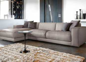 Migliore Contemporary Sofa With Leather Chaise Longue