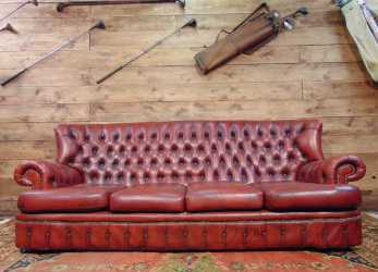 Ideale Divano Chesterfield Monk 4 Posti Originale Inglese Vintage In Vera Pelle Color Rosso