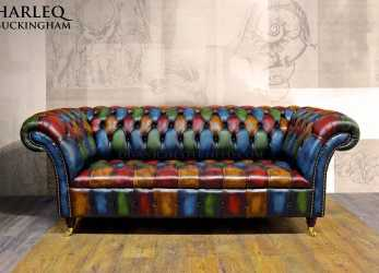 Ideale Divano Chesterfield Nuovo Moderno Patchwork Pelli Vintage