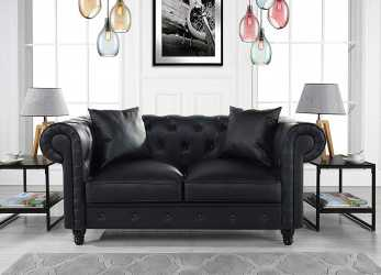Antico Amazon.Com: DIVANO ROMA FURNITURE Classic Living Room Bonded Leather Scroll, Chesterfield Loveseat (Black): Kitchen & Dining