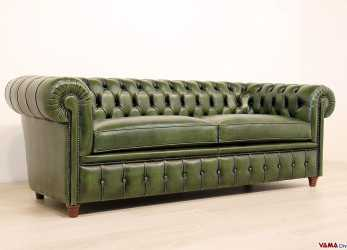 Originale Divano Chesterfield Vintage In Pelle Verde Inglese, Chesterfield
