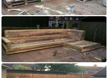 A Buon Mercato Pallet L-Shaped Sofa, Patio / Couch, Gardening, Pinterest