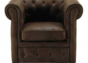 Stupefacente Poltrona Imbottita Marrone In Simil Pelle Chesterfield