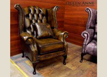 Minimalista Poltrona Chesterfield Queen Anne Chester In Pelle Originale Inglese
