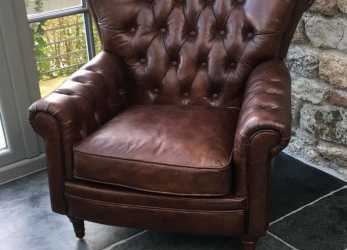 Antico [PRDCT] Chesterfield Real Leather Settle Industrial Chic Armchair Vintage Clubchair: Amazon.Co.Uk: Kitchen & Home