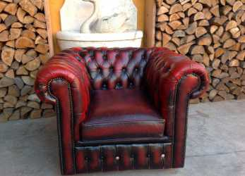 Migliore Poltrona Chesterfield Club Originale Inglese Vintage In Vera Pelle Color Bordeaux