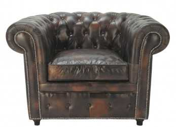 Premio Poltrona Imbottita Chesterfield Color Moka In Cuoio Chesterfield