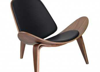 Lussuoso Amazon.Com: Design Tree Home Hans Wegner Shell Chair Replica, Walnut Plywood, Black Leather: Kitchen & Dining