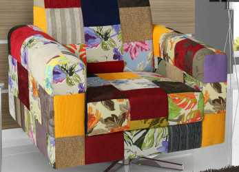 Bello Poltrona Base Giratória Simbal Apollo Patchwork