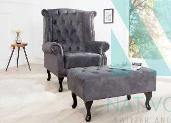 Antico ... Poltrona Relax CHESTERFIELD GREY. Designer Relaxsessel CHEASTER GREY. Designer Relaxsessel CHEASTER GREY