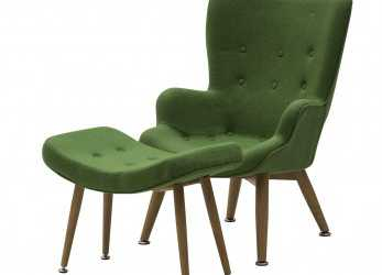 Ideale Set Poltrona E Sgabello Di Design Colore Verde