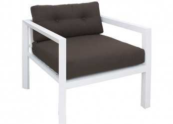 A Buon Mercato ..., Esterno 25, Outdoor Armchair In White Varnished Aluminium, With Cushions
