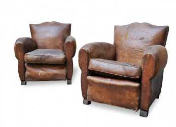 Ideale Fauteuils Club, Poltrone Vintage In Cuoio