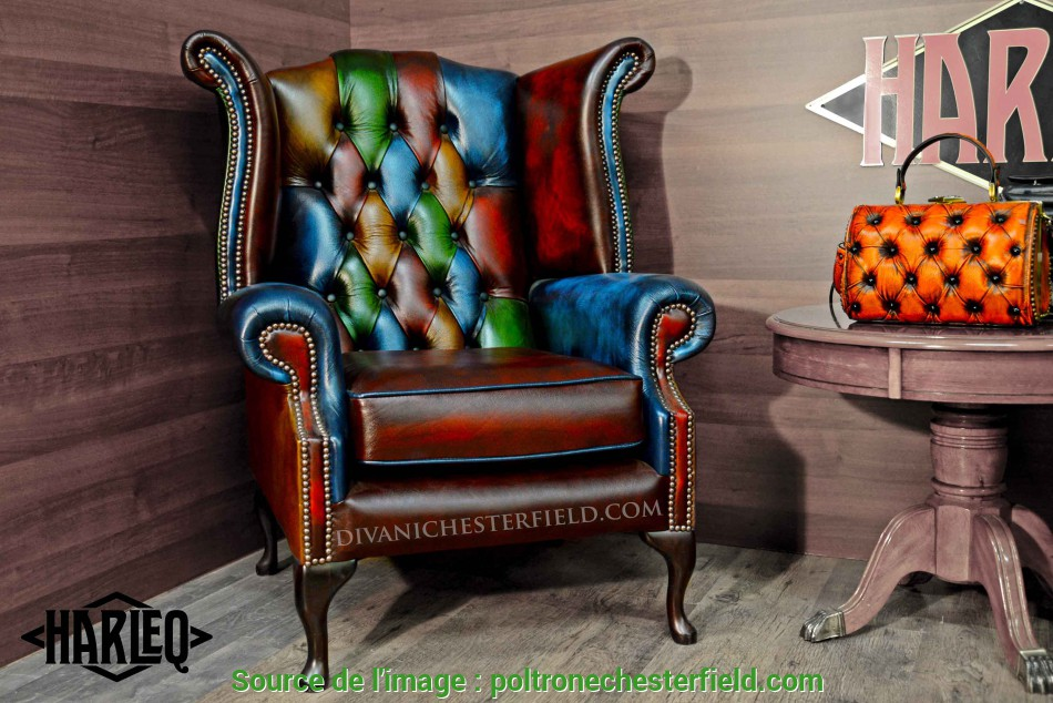 Esotico Poltrona Chesterfield Queen Anne Vintage Patchwork Harleq, Nuova