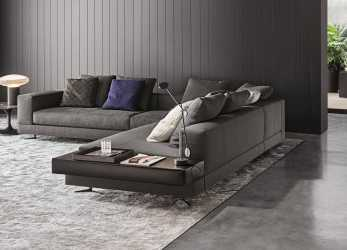 Bello Minotti White Sectional With Attached Leather Table : Fabric : 06 Elephant Color: Pitti ; Leather Table Name: Pelle Extra Color, Visone