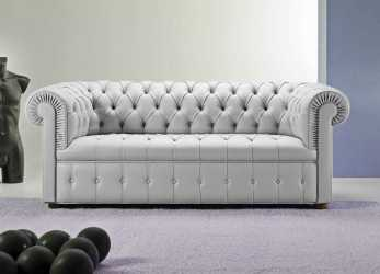 Sbalorditivo Chesterfield Sofa / Leather / 3-Seater / Gray -, CHESTER