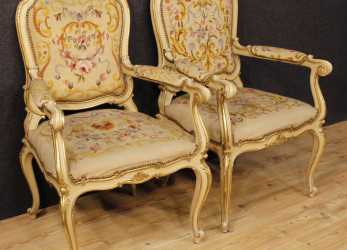 Esotico Details About Couple Armchairs Lacquered Furniture Chairs Italian Wood Antique Style Louis XV