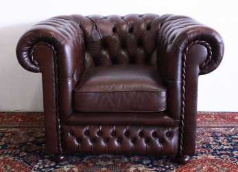 Premio Chesterfield Club Armchair In Original Brown Leather Made In The