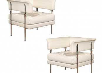 Eccellente Pair Of Italian Poltrona Frau Hydra Chairs, In Pelle Leather By Luca Scacchetti